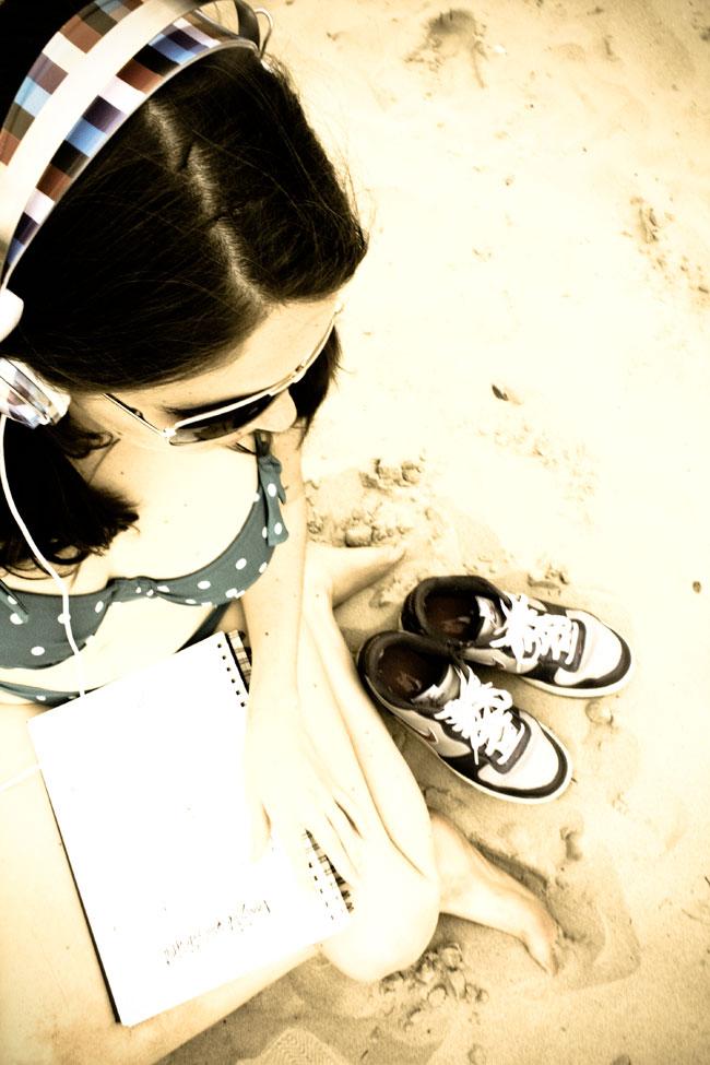 Nikes on a the beach