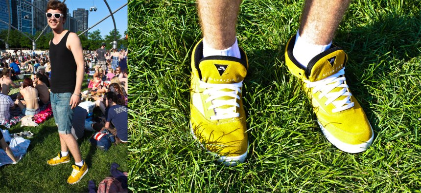 yellow nikes at a concert