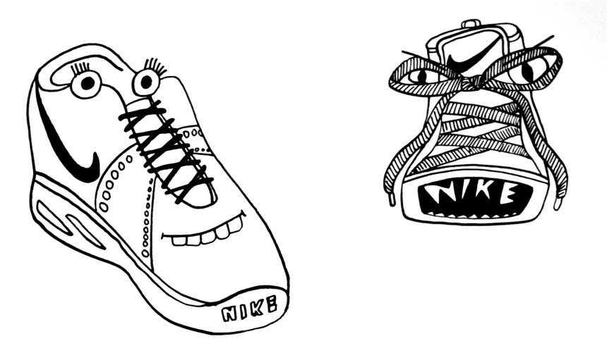 Nikes with faces