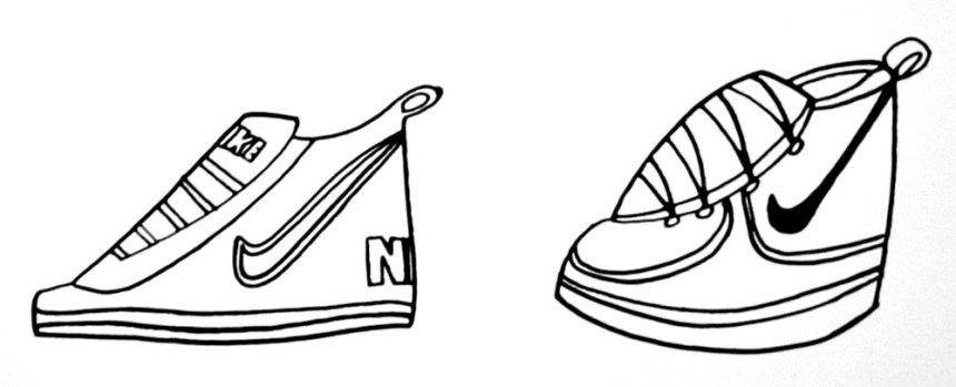 ink drawings of Nikes
