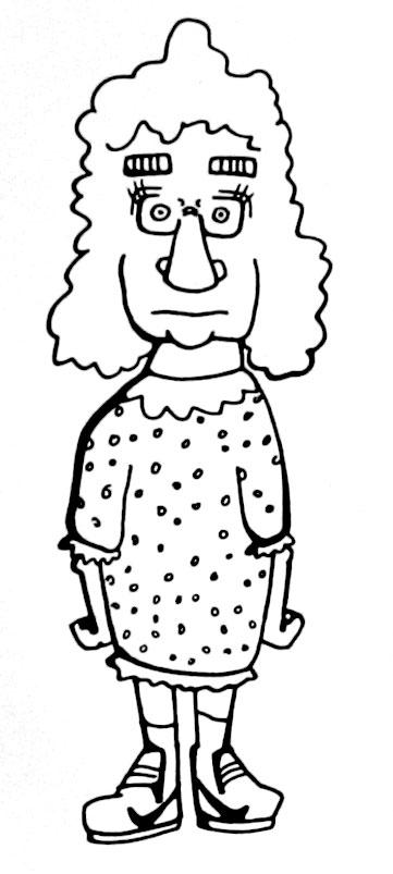 old woman wearing Nikes