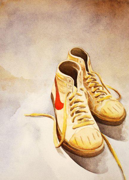 Nike high tops, watercolor